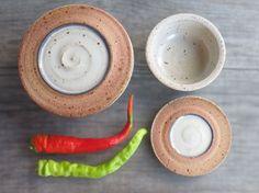 Kitchen storage jar Set of 2 ceramic jars salt cellar by toscAnna