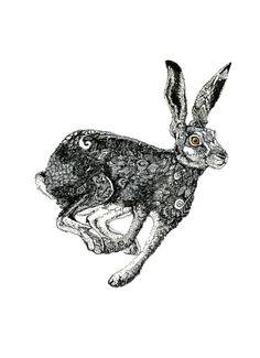 Illustration de giclée Print Running lièvre 8 x 11