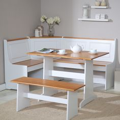 This three piece breakfast nook can help brighten up your space or fit in nicely with a dominantly white color scheme.
