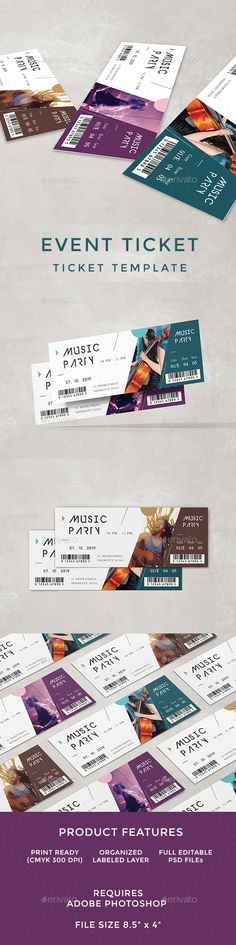 #Event #Ticket - Cards & Invites Print Templates Download here: https://graphicriver.net/item/event-ticket/19692443?ref=alena994