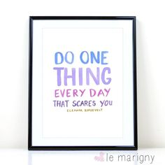 Inspirational Wall Art Do One Thing Everyday That Scares You, Eleanor Roosevelt Motivational Poster Typography Quote Wall Art Nursery Art