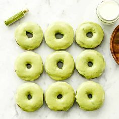 Baked Paleo Spinach Donuts with Matcha Glaze are the perfect healthy breakfast full of sneaky veggies! Gluten-free, dairy-free, and refined sugar free! Donut Recipes, Brunch Recipes, Paleo Recipes, Dessert Recipes, Simple Recipes, Free Recipes, Desserts, Paleo Donut, Healthy Donuts