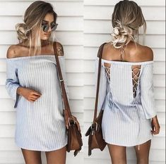 Cheap mini dress, Buy Quality t-shirt dress directly from China off shoulder dress Suppliers: jinggton 2017 Summer Women Pullover Striped T-Shirt Dress off shoulder Dress Slash Neck Mini Dress Backless Maxi Dresses, Sexy Dresses, Bandage Dresses, Mini Dresses, Robes Dos Nu Maxi, Short Beach Dresses, Striped T Shirt Dress, Stripe Skirt, Gray Dress