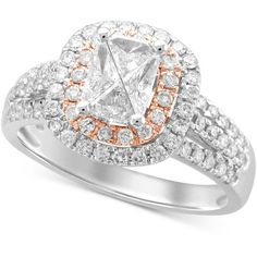 Diamond Two-Tone Engagement Ring (1 ct. t.w.) in 14k White and Rose... ($3,112) ❤ liked on Polyvore featuring jewelry, rings, 14k rose gold ring, white ring, diamond enhancer ring, rose gold engagement rings and 14k diamond ring