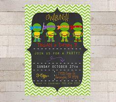 Teenage Mutant Ninja Turtles Birthday Party Invitations- TMNT-Custom- Modern- Boys Birthday- Birthday Party- Superhero- Ninja Turtle Party on Etsy, $12.00