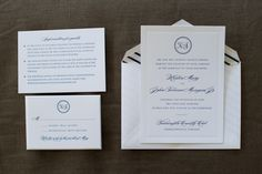 Classic blue and white wedding invitations with a striped liner {Photo by Cramer Photo via Project Wedding}