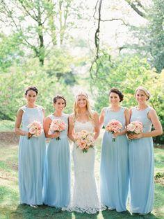 Beautiful long baby blue bridesmaid dresses
