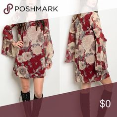 "Burgundy Floral Bell Sleeve Dress This gorgeous dress has all the popular trends! Burgundy, florals, and bell sleeves. Dress measures 34"" long, Bust on a size Large is 38"" . Sleeves are 24"" long. Dress is 100% polyester and fully lined. Button closure in back with stretch loop. Size small fits 2-4, size medium fits 6-8, size large fits 10- 12. If you are in between sizes please Go up a size as there is very little stretch on this dress.❗PRICE FIRM UNLESS BUNDLED ❗ Dresses Mini"