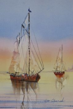 Old Sailing Boat by Jim Oberst - 11 x 7.5 Original watercolor - $100.00     Like the gradient wash sky.