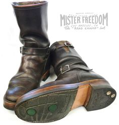 It comes as no surprise that the gentleman behind Road Champ Engineer Boots owns the best looking pair around. Mister Freedom himself, . Red Wing Shoes, Biker Boots, Motorcycle Boots, Biker Leather, Leather Boots, Bottes Red Wing, Rave Outfits Men, Fashion Boots, Men Boots