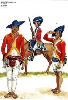 """Plate by Gerry Embleton from Ospreys -""""Armies of the East India Company 1750-1850"""". Carnatic Troops c 1785 L to R Subedar, Trooper & Havildar"""