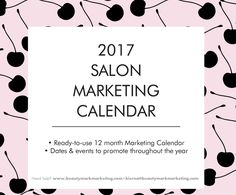 BeautyMark has created an editable 2017 marketing calendar for beauty business owners – with events for this upcoming year, plus the marketing channels options for each one.   - Ready-to-use 12 month Marketing Calendar - Dates & events to promote throughout the calendar year