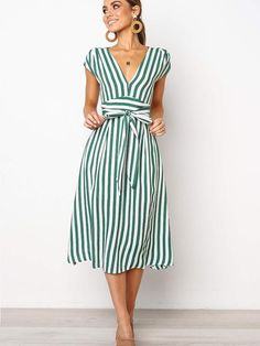 Plus Size Vintage Stripe VNeck Women Casual Long Summer Dress Vestidos Clothes Ladies Dresses Robe Femme Sexy Dresses, Casual Dresses, Fashion Dresses, Short Sleeve Dresses, Green Dress Casual, Skater Dresses, Casual Outfits, Böhmisches Outfit, Dress Outfits