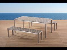 Aluminium Gartenmöbel Set Grau   Tisch 180cm   2 Bänke   Polywood   NARDO