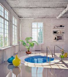 Utterly blown away by this cool loft bathroom with its sunken bath that looks like a mini swimming pool!