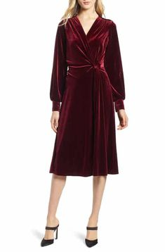 Save on Halogen® Velvet Faux Wrap Dress (Regular & Petite) Asian Wedding Dress Pakistani, Valentines Day Dresses, Red Velvet Dress, Velvet Fashion, Lace Evening Dresses, Dress Cuts, Faux Wrap Dress, Nordstrom Dresses, Dresses With Sleeves