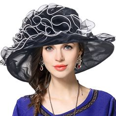 3b4f13a2 Women Church Dress Kentucky Derby Organza Wide Brim Party Hat - Black -  C712NRY8T6G
