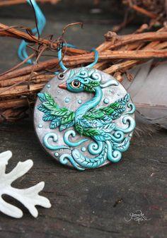 Blue Phoenix Medallion - phoenix bird pendant - necklace - fantasy jewelry - wiccan amulet - green silver - polymer clay - sky bird - ooak - fimo art - hadmade by GloriosaArt