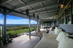 Relaxing verandah with uninterrupted views to the sea. Newrybar, NSW