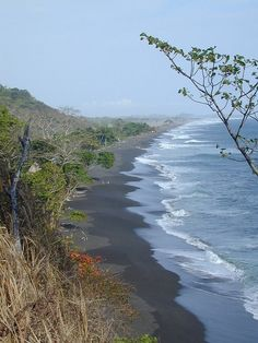 Black Volcanic Sands of Playa Hermosa, Costa Rica...it's days like these I miss this place