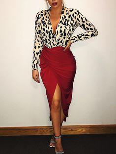 Sexy Leopard Pattern Midi Dress