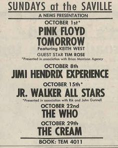 A poster from September 1967 advertising Sundays at the Saville