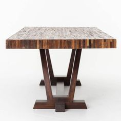 The Max Dining Table is a combination of reclaimed & sustainably harvested woods that lend a sense of history brought out by its variances in texture and tone. Dining Room Furniture, Dining Room Table, Furniture Design, Fine Furniture, Contemporary Furniture, Modern Contemporary, Trestle Dining Tables, Wooden Tables, Coffe Table
