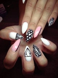 Stiletto Nail Art. Black, pink and white intricate nail designs. Try Pommette's Artistic Colour Gloss for your perfect Kelowna Gel nail manicure. Discover and share your nail design ideas on www.popmiss.com/nail-designs/