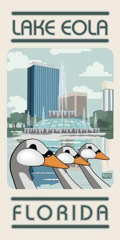 Lake Eola Florida Travel Poster