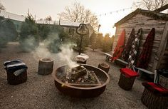 Fire pit, stump stools and Pendleton blankets ... what could be better?