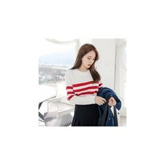 Crew-Neck Stripe-Trim Knit Top ($40) ❤ liked on Polyvore featuring tops, sweatshirt, women, crew-neck tops, white top, knit tops, qnigirls and crew neck top