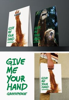 "Greenpeace ""Give me your hand"" bag ads campaign"