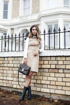Safari style dress, white button down blouse, black ankle boot, black purse