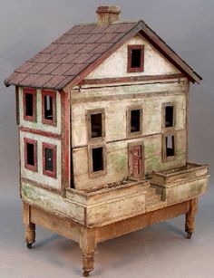 """Antique early 20th century arts and crafts doll/bird house with beautiful patina on removable castered base. 55""""h x 42""""w x 26""""d SOLD"""