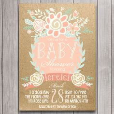 Coral, Mint, Gold Boho Baby Shower Invitation Digital Download, Floral Bridal Shower Bachelorette Party, Birthday Party Invite Printable by INVITEDbyAudriana on Etsy https://www.etsy.com/listing/217637886/coral-mint-gold-boho-baby-shower