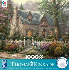 This 1000 piece puzzle features a Thomas Kinkade painting of a lovely stone cottage in the country with a white picket fence around it. Thomas Kinkade Puzzles, Brothers Movie, Warner Brothers, Kinkade Paintings, Thomas Kincaid, Puzzle Shop, Cabin Porches, Beautiful Pictures, Beautiful Places
