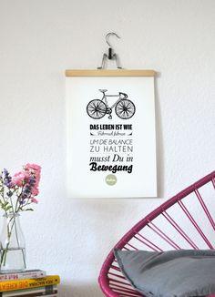 ♥Immer in Bewegung♥   liebevoll gestalteter Druck gedruckt auf hochwertigem Strukturpapier