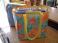 Oilcloth Tote Bags -- I need to make these for toting groceries!