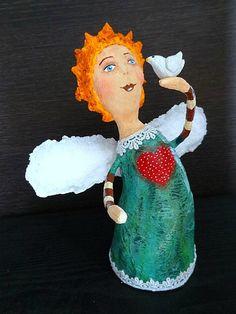 Paper mache angel - Anjo em papel mache