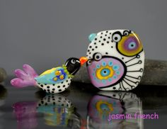 °° TRIPPY BIRD °° set lampwork beads by jasmin french