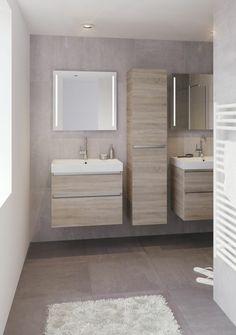 salle de bain beige avec meubles en bois clair, tapis blanc, alinea salle de bain