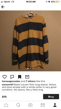 819ee29b80d blue and yellow striped polo- depop