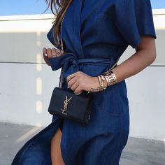 Denim dresses and gold accessories always make for a winning combo. @songdani