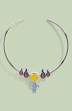 Women's Jiwinaia 'Female Flames' Necklace - Blue And Orange