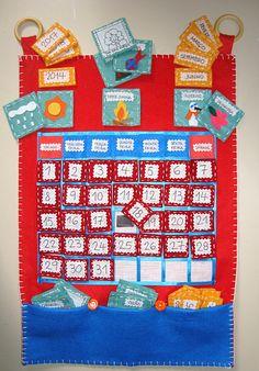 Calendário Interativo em feltro para crianças.