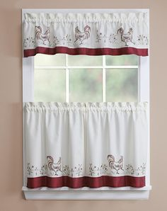 Captivating Rooster Kitchen Curtains | ROOSTER EMB KITCHEN CURTAIN   56X12 U0026 28X24   Kitchen  Curtains .