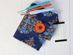Crochet Hook Case - Hook Organizer - Hook Holder - Roll Up Case - Crochet Supplies - Joel Dewberry Botanique - Kniting Gifts by TalfourdJones on Etsy