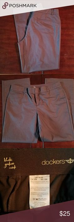 Dockers Pants size 16 These are dark grey, stretchy waistband and some stretch in the fit.   Comes from smoke free home.  *All clothing gently used - Washed and hung dry, never put in the Dryer. Dockers Pants Trousers