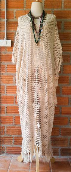 Beige Boho largo Crochet con Maxi vestido de flecos. por SpellMaya