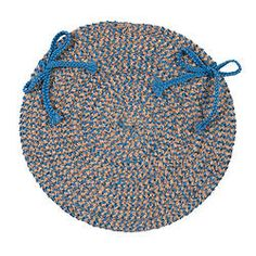 Softex Check Blue Ice & Tan Round Chair Pad